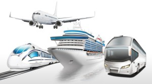Reisearten. Flugzeug. Zug. Schiff. Bus.