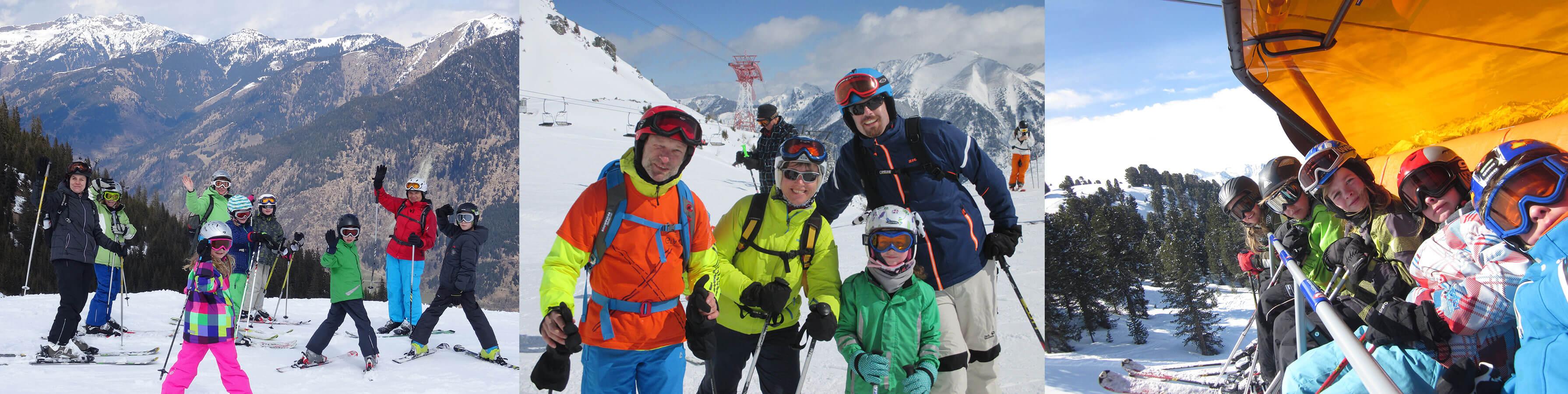 Eltern und Kinder beim Skifahren und im Sessellift