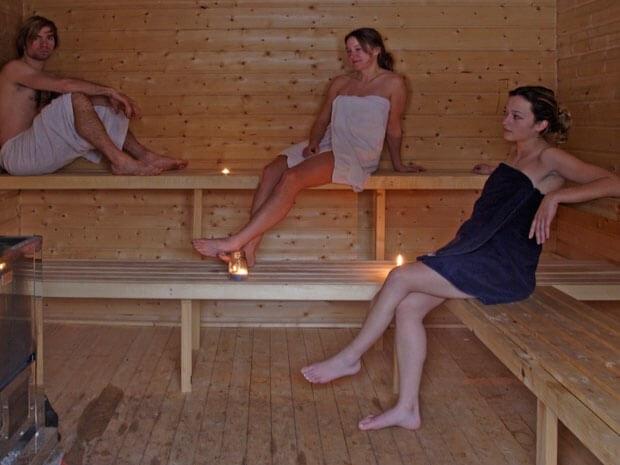 Saunabereich im Aktivcamp in Schweden
