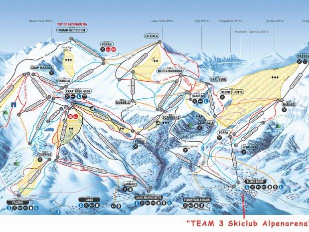 Pistenplan den Skigebiet Flims-Laax im Skiurlaub in der Schweiz