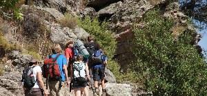 Wandergruppe besteigt gemeinsam den Berg