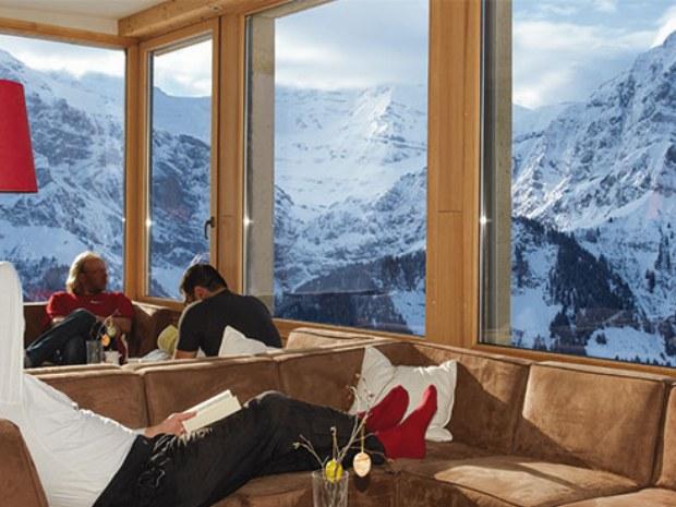 Aufenthaltsraum in Unterkunft im Skiurlaub in Champéry